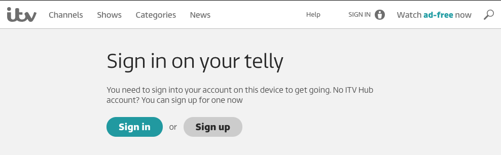 How do I sign in on my TV using PIN-pairing? – ITV